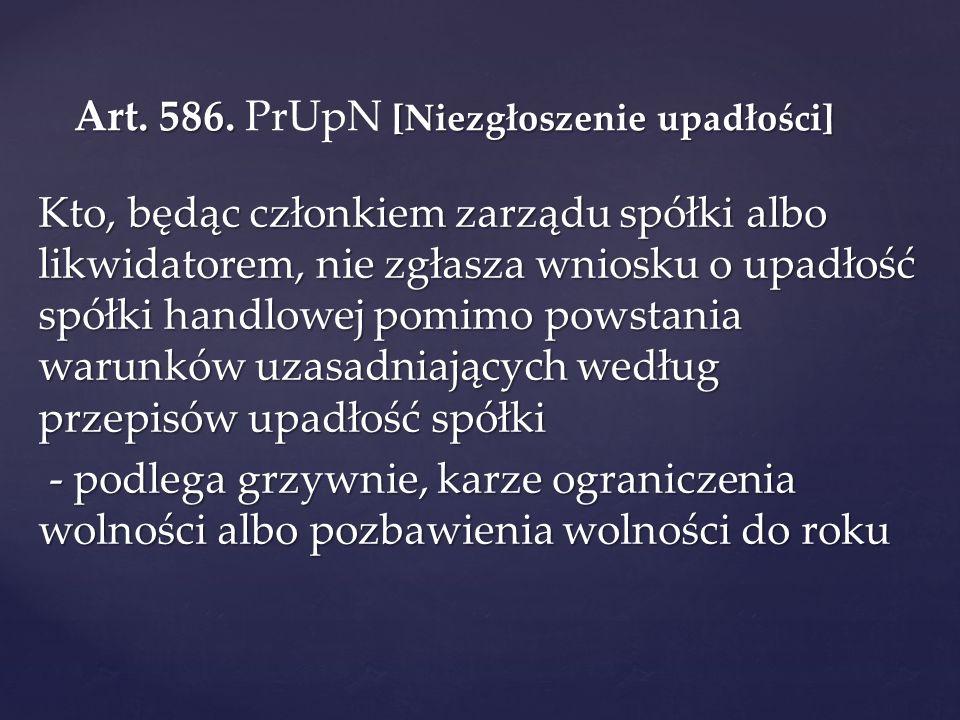 Art. 586. PrUpN [Niezgłoszenie upadłości]